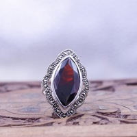 925 sterling silver ring inlaid silver red corundum Deluxe lady retro Sterling Silver Ring Factory Direct