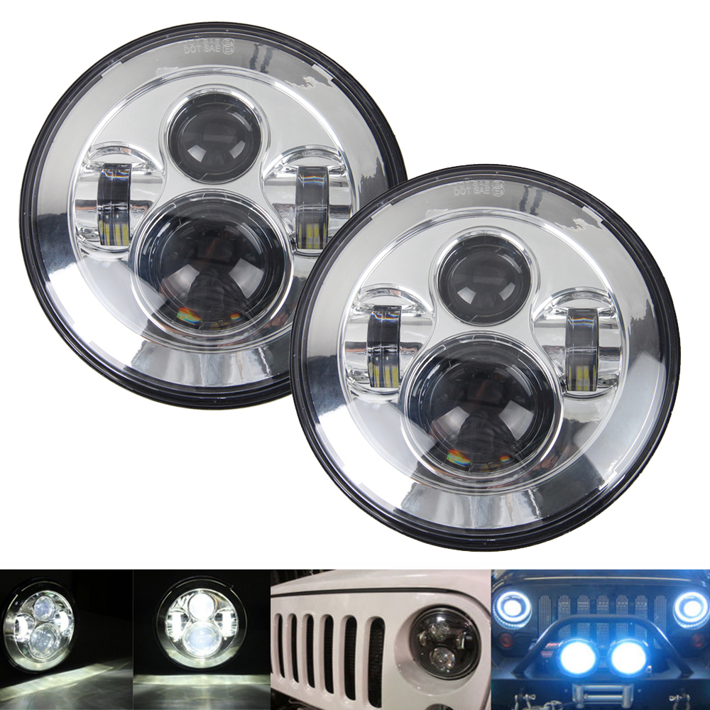 Pair H4 45W 7 12V LED Headlight Hi-Lo For 2007-2015 Jeep Wrangler JK TJ LJ left hand a pillar swith panel pod kit with 4 led switch for jeep wrangler 2007 2015