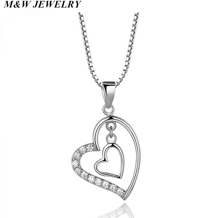 M&W JEWELRY hot sale models 925 sterling silver CZ hearts have you pendants romantic for women necklace love heart jewelry