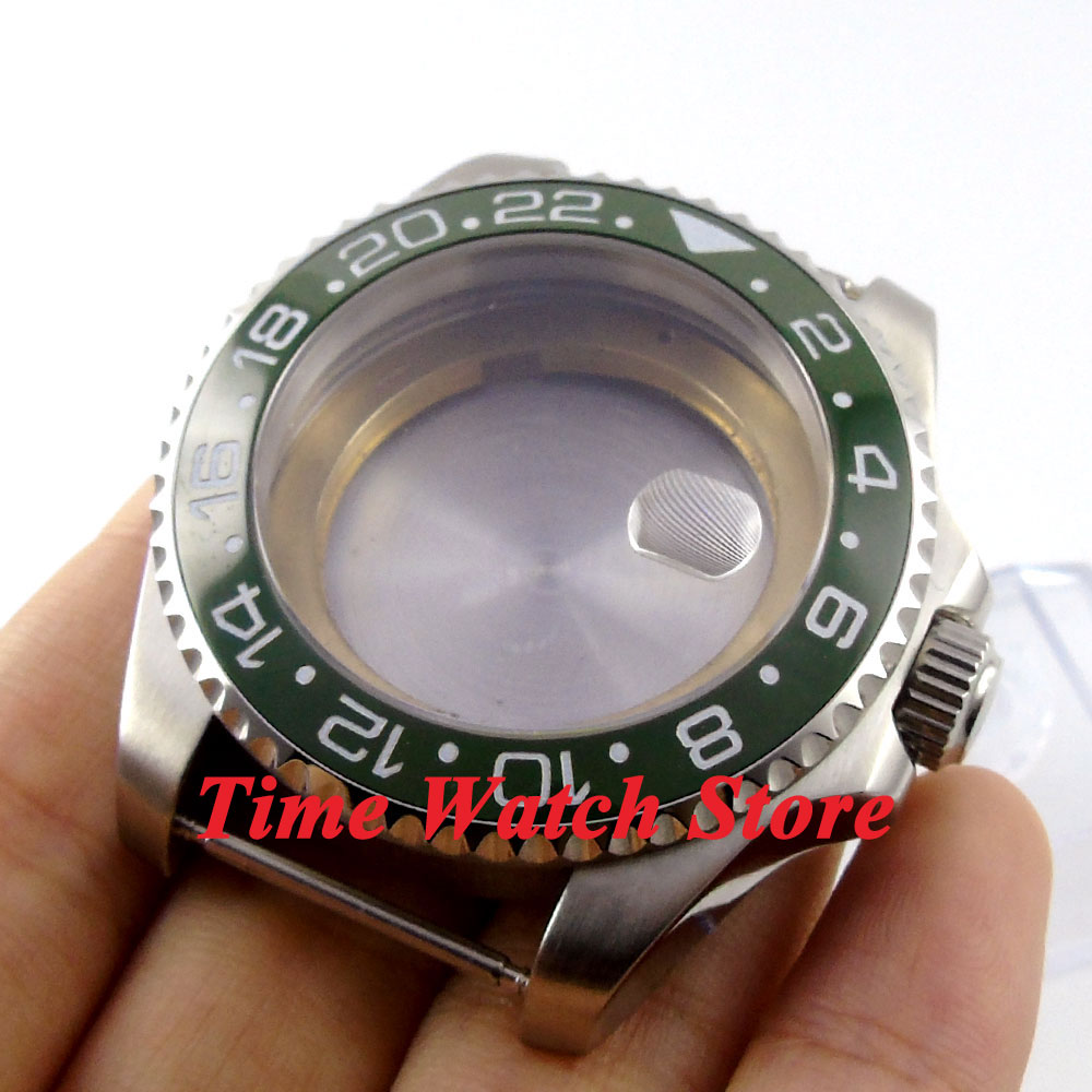 лучшая цена 43mm Sapphire glass green ceramic bezel stainless steel Watch Case fit ETA 2824 2836 movement 53