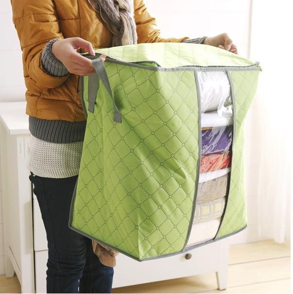 2016 Новый Bamboo Уголь нетканые Коробка Переносное Устройство Для Хранения Одежды Организатор Кейс Для Хранения Одежды Одеяло Одеяло складское 2 размер