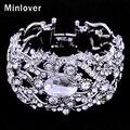 Minlover Prata & Cor do Ouro Bracelet & Bangle para As Mulheres de Casamento De Cristal Rhinestone 2016 Moda Jóias SL093