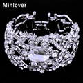 Minlover Silver&Gold Color Crystal Wedding Bracelet&Bangle for Women Rhinestone 2016 Fashion Jewelry SL093