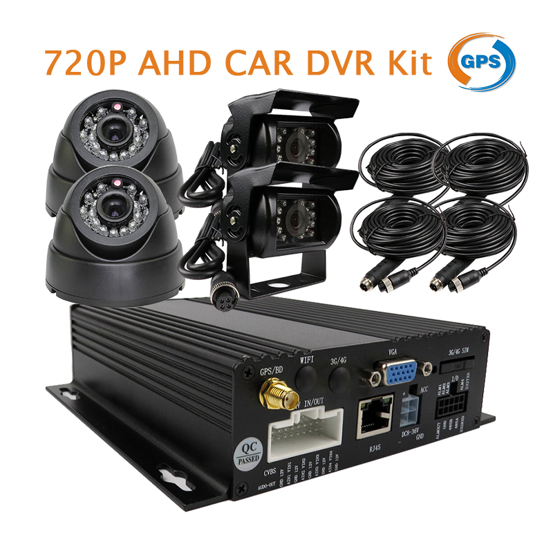 Free Shipping 4CH 720P AHD GPS G-sensor SD Car Vehicle DVR MDVR Real-time Record Kit + 4 x Car Truck Bus Rear View In-car Camera