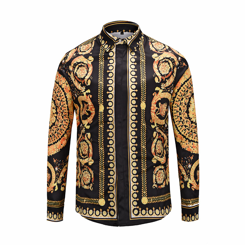 XIMIWUA 2019 Fashion New Men Shirts 3d Print Golden Flowers High Quality Hawaiian Shirt Casual Slim Fit Long Sleeve M to XXL