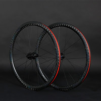 700C Carbon fiber wheels Thru axle F12*100 R12*142mm carbon wheelset 700C road disc wheels colorful decal