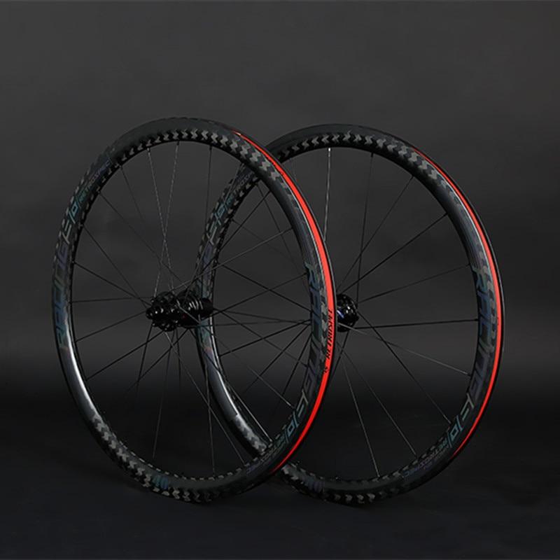 Rodas De fibra de Carbono 700C Thru-eixo F12 * 700C 100-R12*142 milímetros rodado de carbono estrada rodas de disco colorido decalque