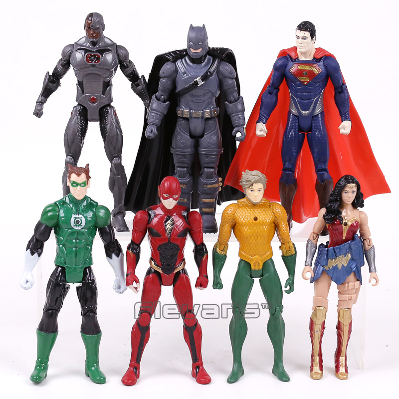 DC COMICS Super Heroes Batman Superman Wonder Woman Aquaman Green Lantern Cyborg The Flash PVC Action Figures Toys loz dc comics super heroes mini diamond building block batman