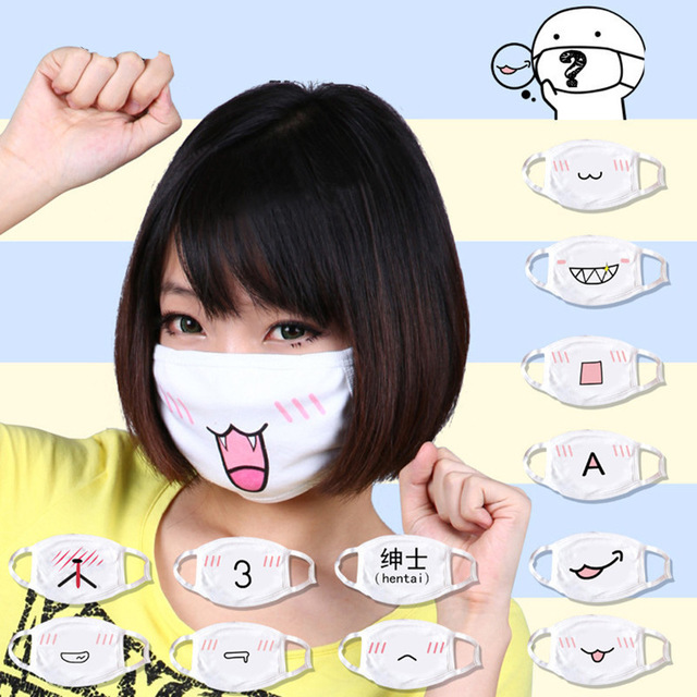 5Pcs/lot Anti Dust Cotton Mouth Mask Cute Anime Cartoon Muffle Face Emotiction Masque Washable Reusable Fashion Mouth Mask