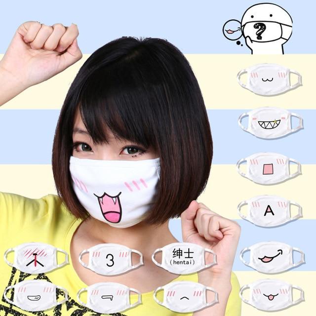 5Pcs/lot Anti Dust Cotton Mouth Mask Cute Anime Cartoon Muffle Face Emotiction Masque Washable Reusable Fashion Mouth Mask