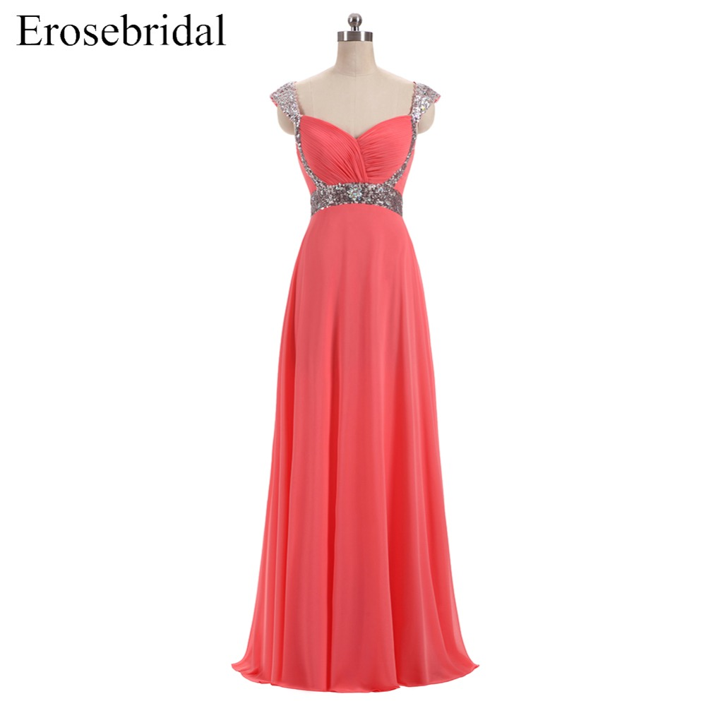 [Clearance Sale] Chiffon Evening Dress Long Elegant Long Formal Evening Gown Sequined Beaded Lace Up Back Sweetheart
