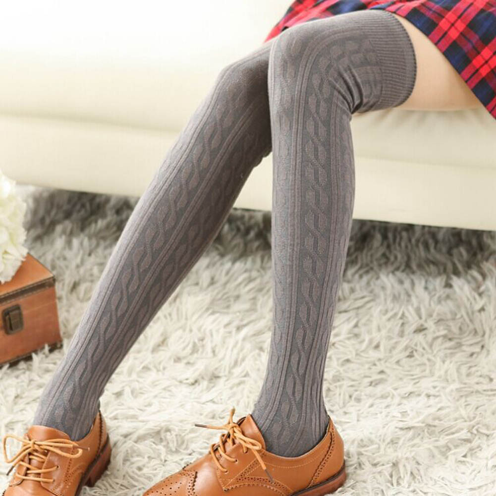 Autumn Winter Thigh High Over Knee Spiral Pattern Ladies Women Stocking Solid Color High Quality Cotton Jacquard Weave