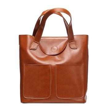 100% Genuine Leather Handbag Casual Women's Tote Fashion Famous Brand Large Capacity Fashion Casual Ladies Shoulder Bag
