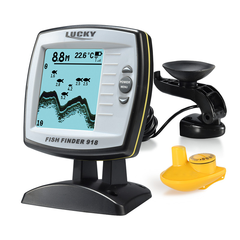 Бесплатная доставка! повезло FF918-100WS 2-в-1 Рыболокаторы проводной/Беспроводной рыболокатор глубинный эхолот Сенсор детектор рыбы монитор