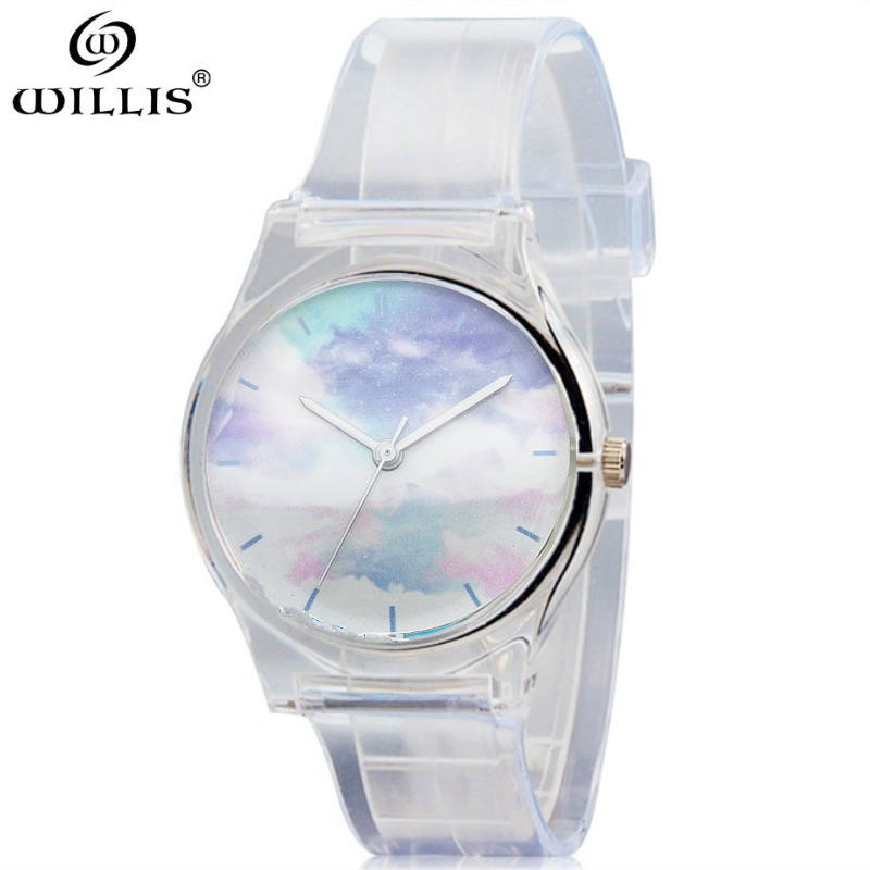 WILLIS Brand Silicone Strap Display Women Dress Watch Fashion Casual Quartz Watch Women ransparent Wristwatch relogio feminino