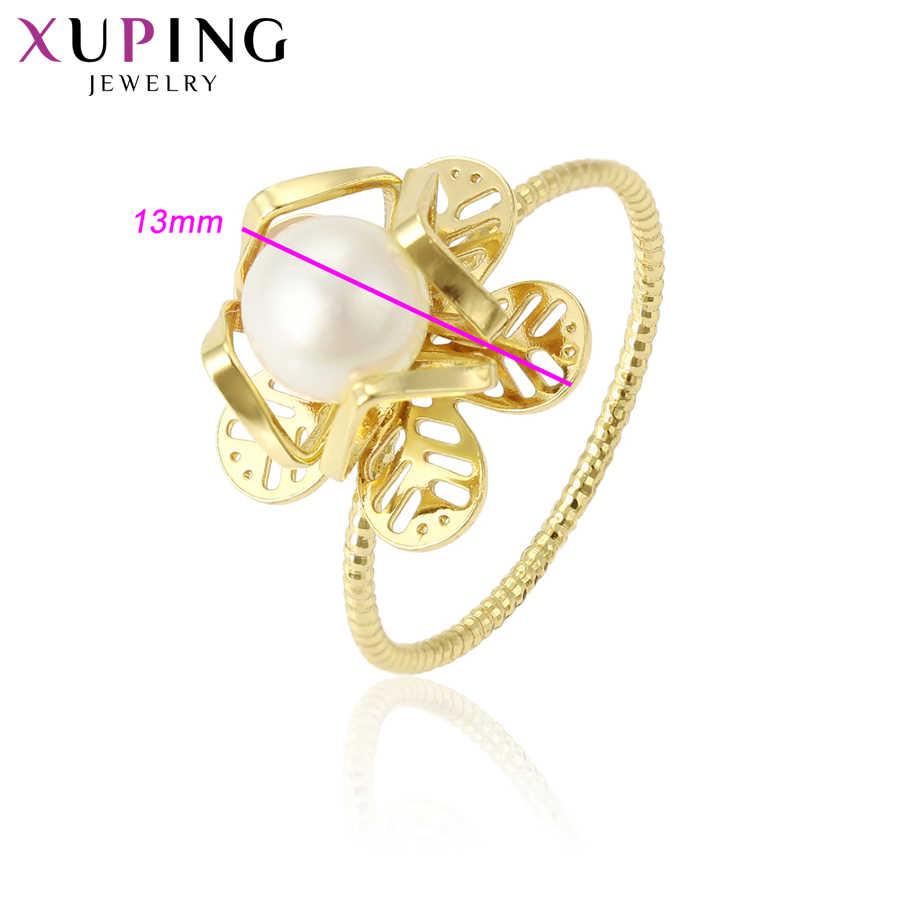 11.11 Xuping Berdering Cincin Fashion Wanita Imitasi Mutiara Karir Lampu Kuning Warna Emas Perhiasan Natal Hadiah S165.2-15346
