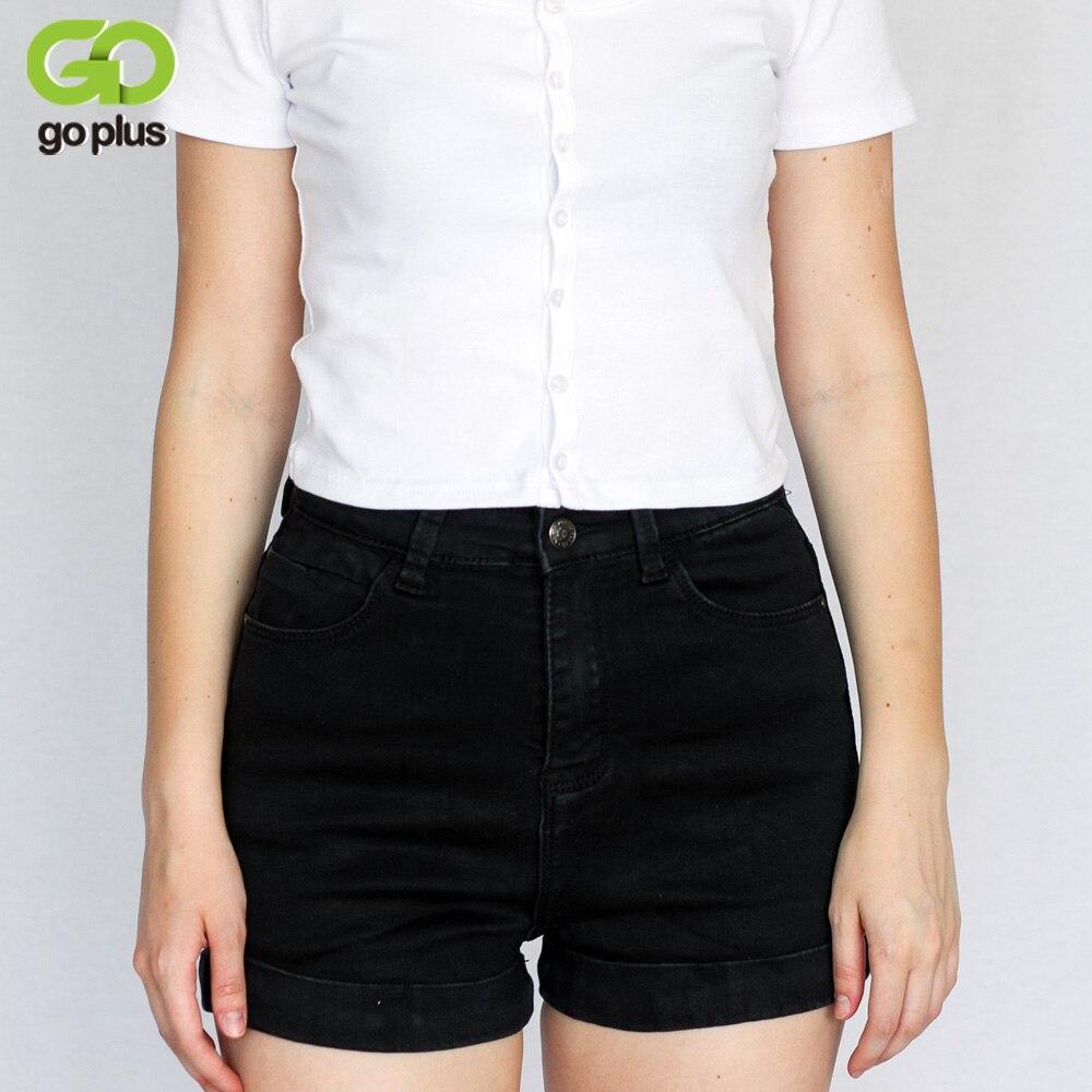 2017 european high waist cuff denim shorts vintage black for Women s fishing shorts