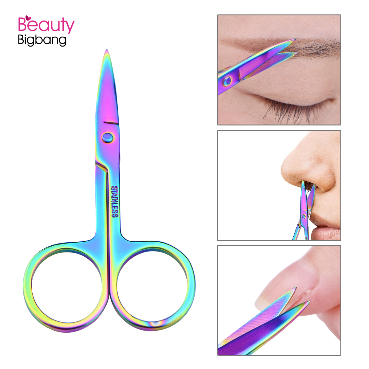BEAUTYBIGBANG 1 Pc Chameleon Curved Head Eyebrow Scissor Makeup Trimmer Facial Hair Remover Manicure Scissor Nail Cuticle Tool