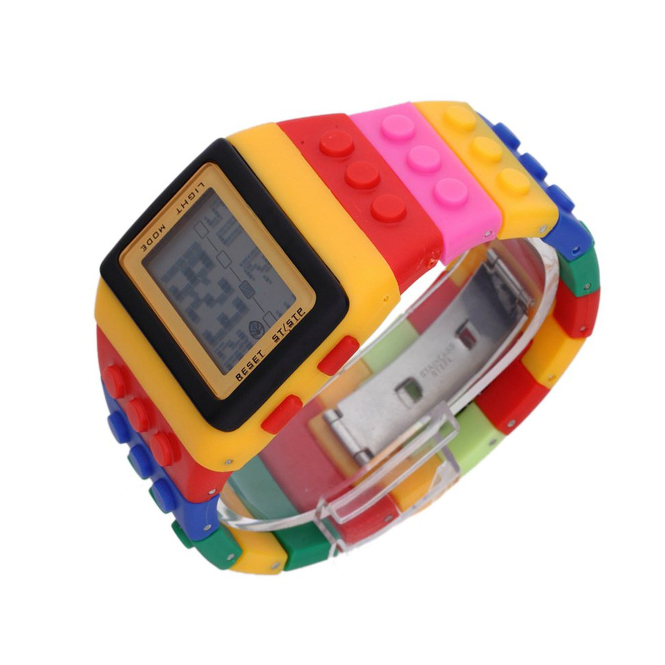 YCYC!5*Multi-Color Block Wrist Watch with LED Night Light - Yellow