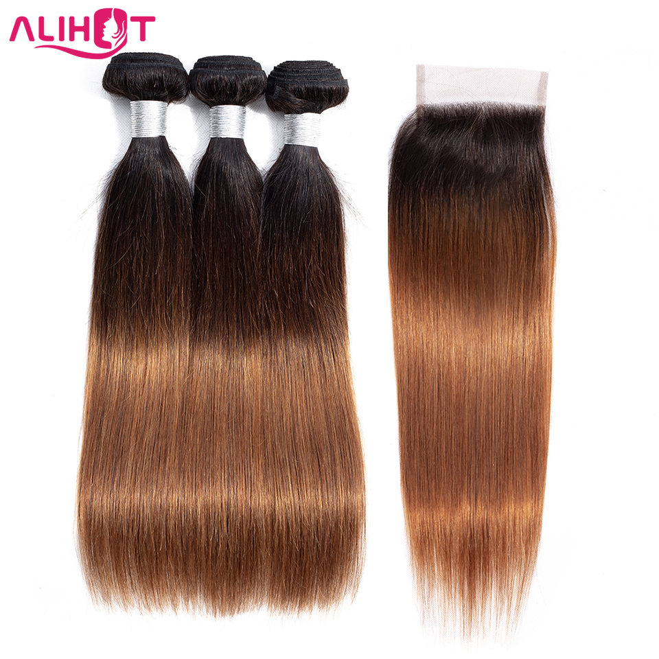 ALI HOT Hair Brazilian Straight Hair With Closure 4*4 Free Part Ombre Remy Human Hair 3 Bundles With Closure 1b/4/30 For Salon