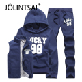 2017 Design Custom Sweat Suits Men XXXXL Hoodies Sweatshirts Men Tracksuit Jacket Vest Pants Wear Set 3 Pieces Casual Suit