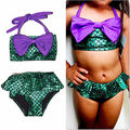 2 UNIDS Chica Kids Mermaid Tail Nadar Bikini Set Traje de Baño Traje de Lujo de Regalo