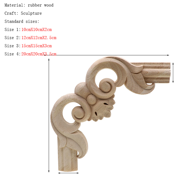 Frame Door Cabinet Decorative Figurines Wood Appliques for Furniture Unpainted Carved Corner Onlay Home Decoration Accessories 2