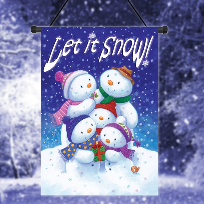 Let It Snow Winter Garden Flag Snowman Family Banner Decor 12.5u0026quot;