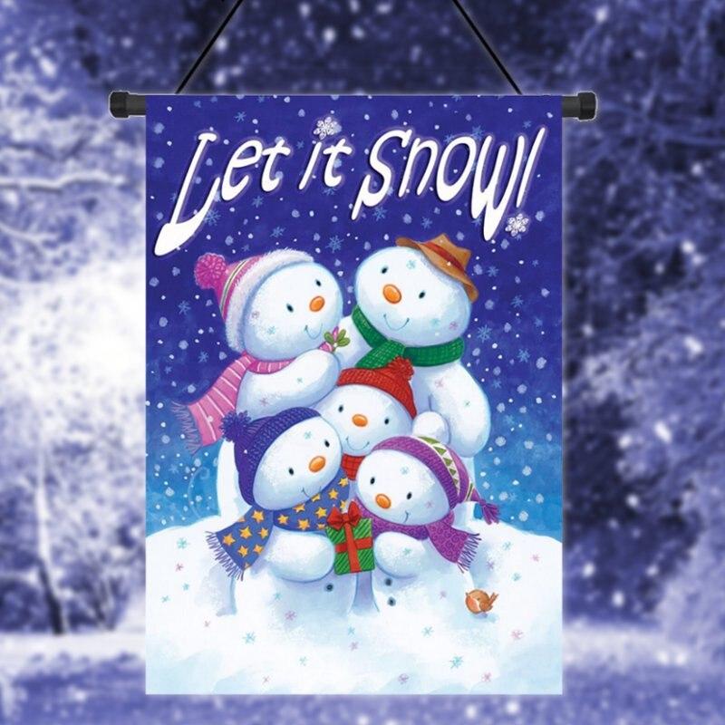 Let It Snow Winter Garden Flag Snowman Family Banner Decor 12.5u0026quot;