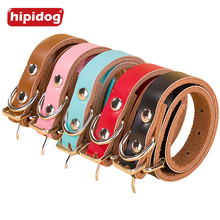 Hipidog Classic Plain Leather Dog Neck Adjustable Collars Simple Design Stainless Steel Puppy Collar Pet Supplies for Small Dogs