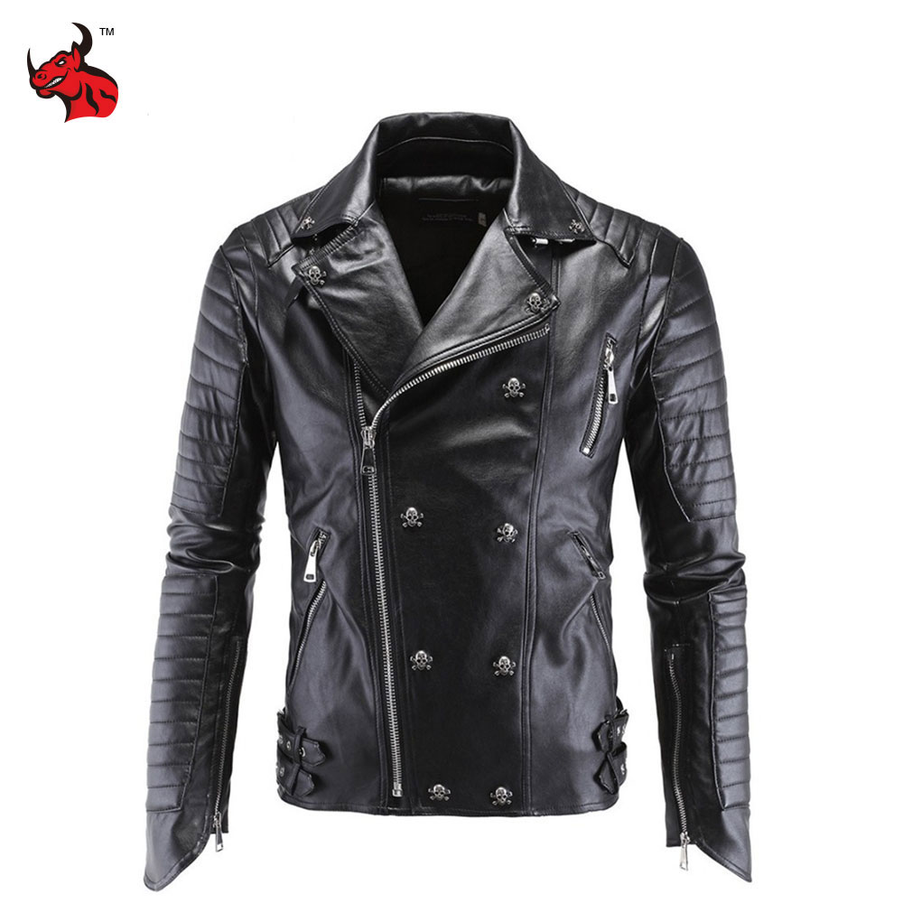 Motorcycle Jacket Fashion PU Moto Leather Jackets Mens Faux Jacket Slim Fit Coats Moto Skull Jacket Coats Black zip cuff faux leather moto jacket
