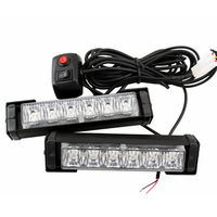 2X High Power 12w RED BLUE10 Modes Flashing LED Warning Light 12LED Strobe Caution Light Car