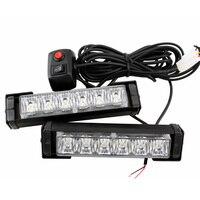 2X High Power 12w RED BLUE10 Modes Flashing LED Warning Light 12LED Strobe Caution Light Car