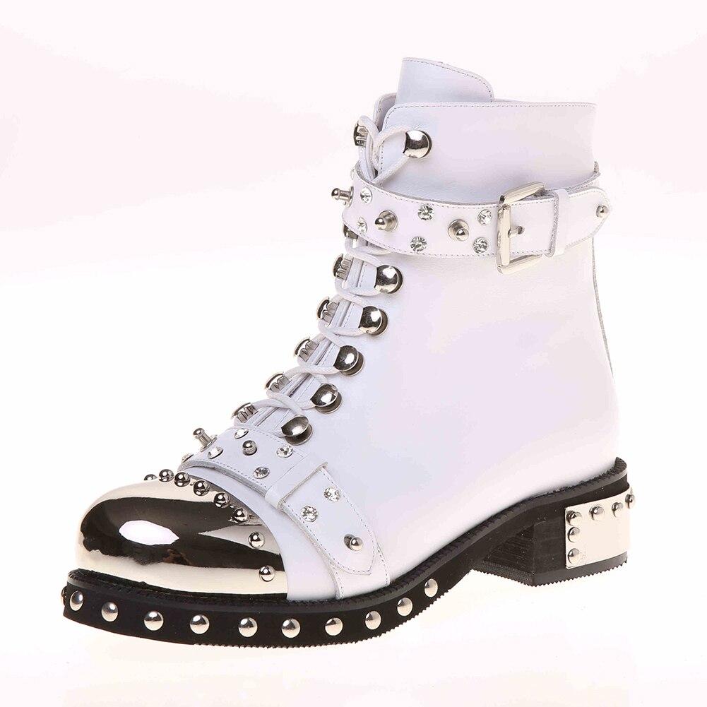 SARAIRIS ใหม่ขนาดใหญ่ 34 43 โลหะตกแต่ง Rivet ซิปหนังแท้รองเท้าผู้หญิงสบายๆฤดูหนาวฤดูใบไม้ผลิข้อเท้ารองเท้า-ใน รองเท้าบูทหุ้มข้อ จาก รองเท้า บน   2