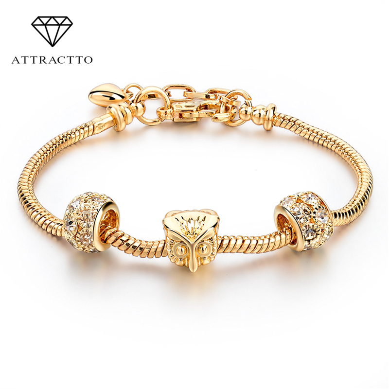 ATTRACTTO Owl Charm Bracelets For Women Luxury Gold Chain Bracelets & Bangles Jewelry Pulseras personalized Bracelet SBR160013
