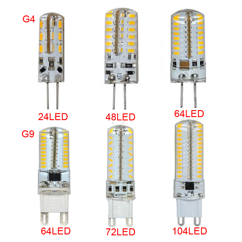 10PCS G4 G9 LED Lamp AC/DC12V 110-220V 3014SMD Corn Bulb Replacement Halogen Light ...