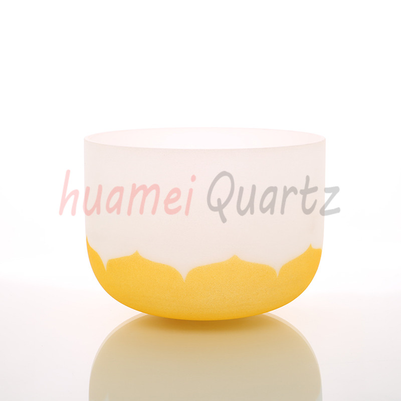 14 inch color lotus with chakra logo frosted quartz crystal singing bowl14 inch color lotus with chakra logo frosted quartz crystal singing bowl