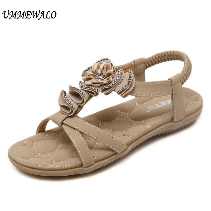UMMEWALO Summer Sandals Women Designer Thong Flat Strappy Sandals Flowers Rhinestone Gladiator Sandal Shoes Zapatos Mujer