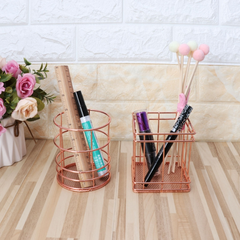 Metal Pen Holder Box Case Desk Organizer Storage Box Stand Case Stationery Office School Desk Supplies pen pencil holder box full half pu leather case desk stationery organizer storage box desk accessories school