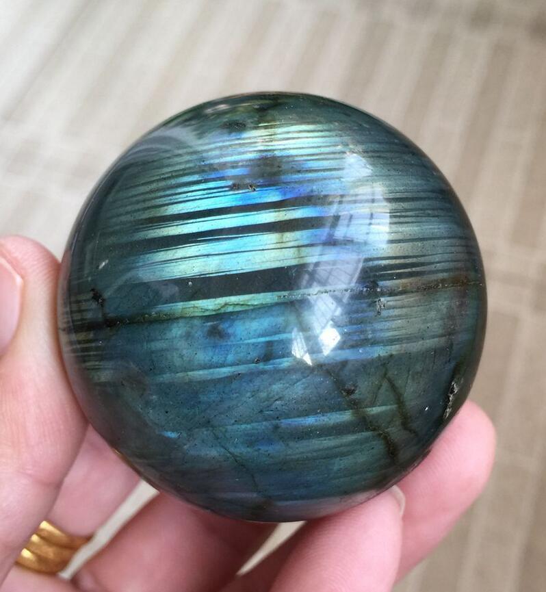 210 gNatural Labradorite Cristal Sphère Boule De Madagascar