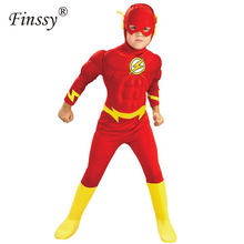The Flash Cosplay Costume for Kids Superhero Fancy Dress Fantasia Halloween Costume for Boys Muscle Clothing Mask Set Split(China)