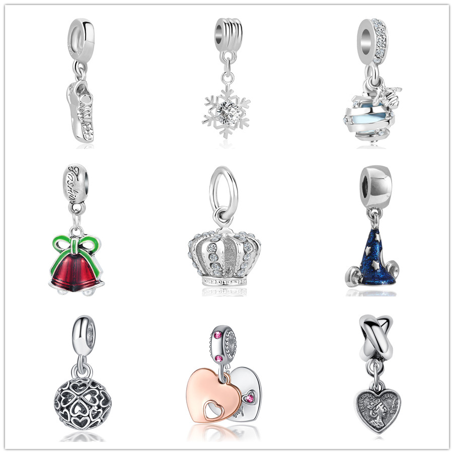 100 Real 925 Sterling Silver Dis Evil Queen S Magic Mirror Dangle Clear Cz Pendant Dangle Charm Fit All European Diy Bracelets Necklaces Jewelry Beauty Jewelry Making Beading Craft Supplies Tools