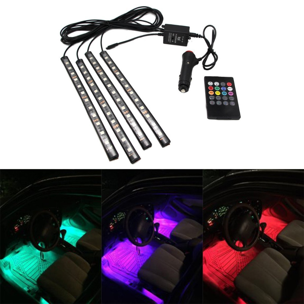 4pcs multi color car interior light 12 led atmosphere neon light strip under dash light kit with. Black Bedroom Furniture Sets. Home Design Ideas