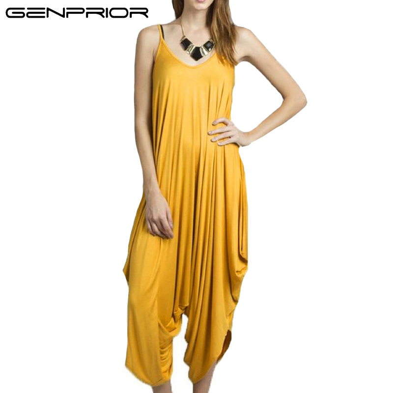 GENPRIOR Women Loose Jumpsuits Female Fashion Solid V-neck Spaghetti Strap Summer Plus Size Lady Backless Elastic Sexy Romper
