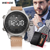 WEIDE men Sport watch Top luxury brand LED Digital Leather Strap Military Quartz Wrist Watches relogio masculino Male Clock Hour