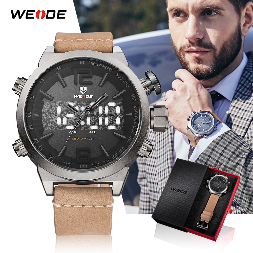 WEIDE relojes deportivos para hombres, 2018 de la marca de lujo Digital militar con correa de cuero, relojes de pulsera reloj de cuarzo Masculino hombre reloj 2018