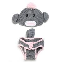 Szary Małpa Dziecko Fotografia Rekwizyty Niemowląt Bawełna Kostium Odzież Z Dzianiny Crochet Hat Spodnie Akcesoria Dla Dzieci Ręcznie Wykonane Zabawki Prezent