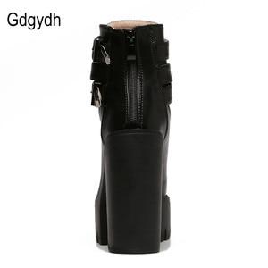Image 3 - Gdgydh/Модные женские ботинки; Сезон весна осень; Кожаные короткие ботинки на высоком каблуке и платформе с пряжкой на шнуровке; Женская обувь черного цвета; Акция