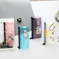 2018 new Cat Pencil Case Silica Gel School Supplies Bts Stationery Gift Cute Pencil Box Pencil Bag School Tools Kawaii Pencil Cases