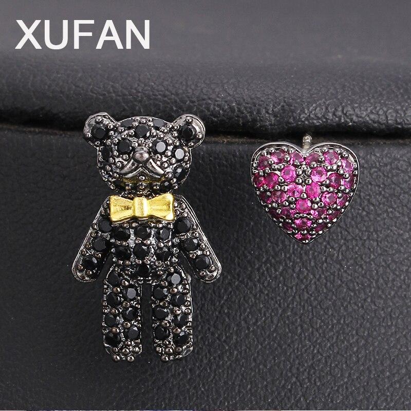 Модные маленькие медвежонок, фиолетовое сердце, фианит, Симпатичные серьги-гвоздики, животных, ассиметричные серьги, украшения для девочек, подарки на день рождения